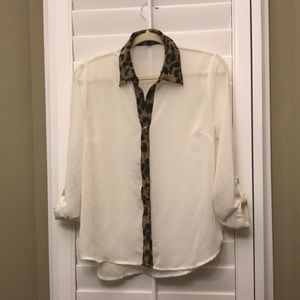 Sheer blouse with leopard  print trim